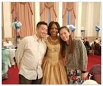 Image of Samantha and Janan from Hong Kong with deputy mayoress Cllr Gloria Opara