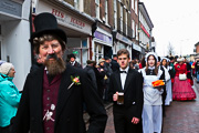 Image of Dickensian Christmas 2017 - Norman Munn as Charles Dickens leads the Seven Poor Travellers parade