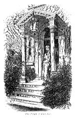 a contemporary sketch of Dickens on the porch at Gads Hill